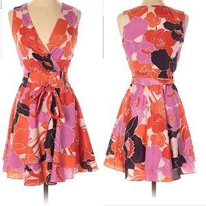Banana Republic floral faux wrap dress 6